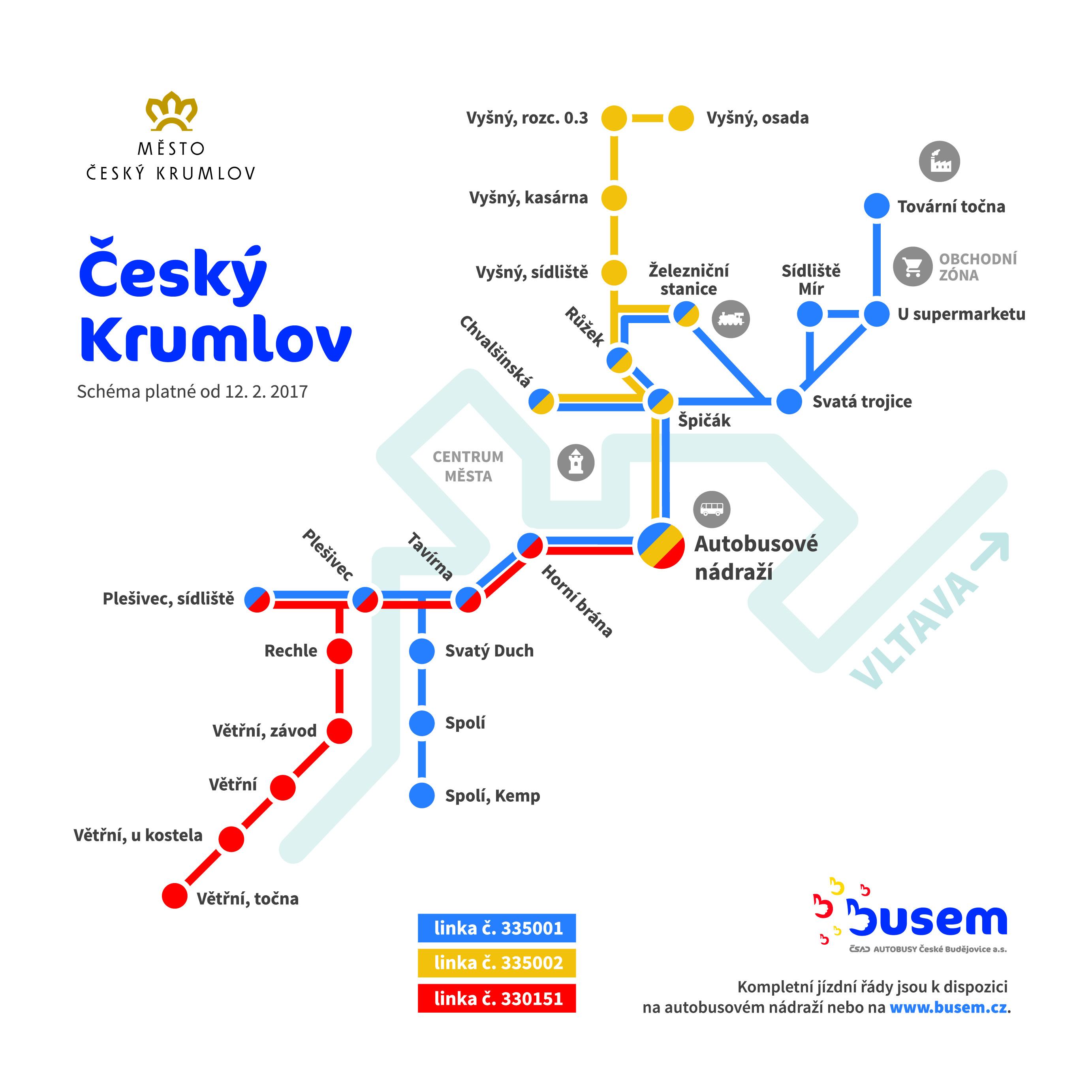 MHD Český Krumlov - schéma dopravy